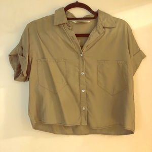 Zara small army green short sleeve button up